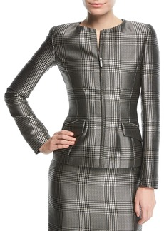 Ralph Lauren Collection Lorraine Houndstooth Zip-Front Jacket