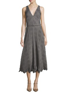 Ralph Lauren Collection Louise Pleated Plaid Dress