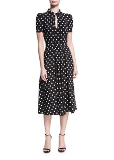 Ralph Lauren Collection Mariella Polka-Dot Short-Sleeve Midi Dress
