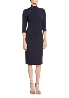 Ralph Lauren Collection Matilda Turtleneck 3/4-Sleeve Wool Midi Dress