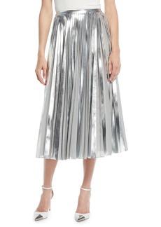 Ralph Lauren Collection Nevina Metallic-Pleated Midi Skirt