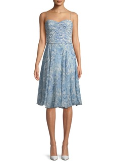 Ralph Lauren Collection Nichola Sweetheart Floral-Print Silk Dress