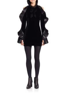 Ralph Lauren Priscilla Leather-Trimmed Velvet Dress