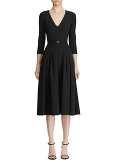 Ralph Lauren Collection Raeana 3/4-Sleeve Belted Crepe Dress