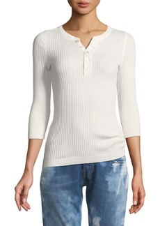 Ralph Lauren Collection Ribbed Cotton Henley Pullover Top