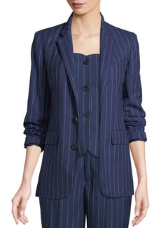 Ralph Lauren Collection Roberts Single-Breasted Pinstriped Wool Jacket