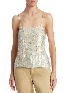 Ralph Lauren Sequin Printed Silk Tank