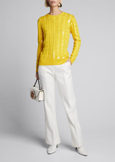 Ralph Lauren Collection Sequined Silk Crewneck Sweater