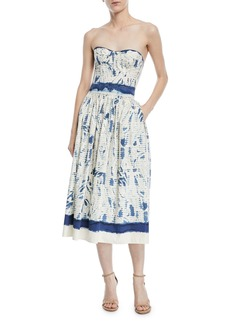 Ralph Lauren Sheena Painted Strapless Cotton Dress