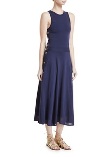 Ralph Lauren Collection Sleeveless Button-Trim Midi Dress