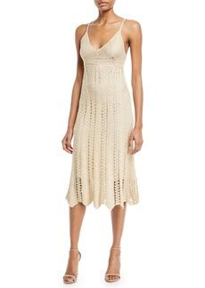 Ralph Lauren Collection Sleeveless V-Neck Crochet Camisole Midi Dress