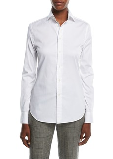 Ralph Lauren Stretch-Cotton Boyfriend Blouse