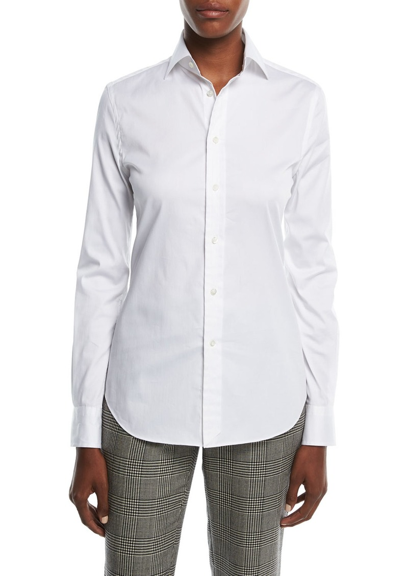 Ralph Lauren Collection Stretch-Cotton Boyfriend Blouse