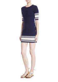 Ralph Lauren Collection Striped Button-Trim Half-Sleeve Dress