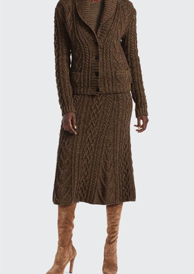 Ralph Lauren Collection Tweed Sweater Cashmere Midi Skirt