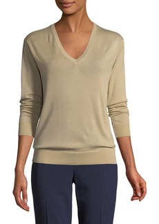 Ralph Lauren Collection V-Neck Long-Sleeve Cashmere Jersey Sweater