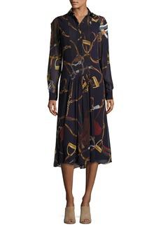 Ralph Lauren Collection Vanessa Equestrian-Print Silk Georgette Midi Shirtdress