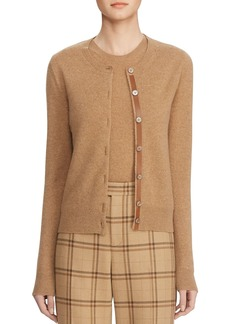 Ralph Lauren Collection Wool-Cashmere Leather-Trim Button-Front Sweater