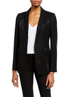Ralph Lauren Collection Yvette Sequin-Pinstriped Wool Blazer