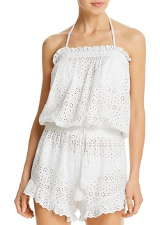 Ralph Lauren Cotton Eyelet Ruffled Romper Swim Cover-Up