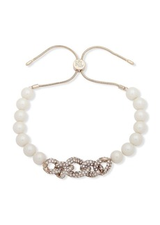 Ralph Lauren Faux Pearl and Glass Stone Pave Slider Bracelet