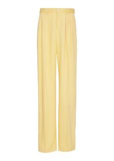 Ralph Lauren Ferra Pleated Silk High-Rise Wide-Leg Trousers