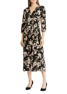 Lauren Ralph Lauren Floral Faux-Wrap Midi Dress