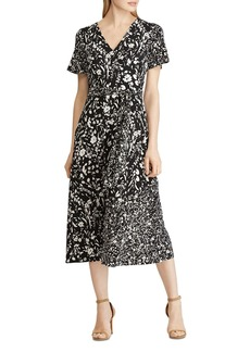 Lauren Ralph Lauren Floral-Print Faux-Wrap Midi Dress