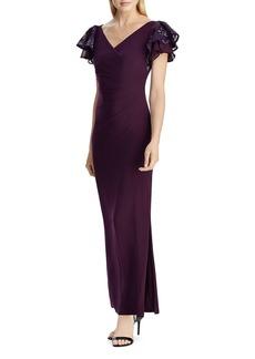 Ralph Lauren Flutter-Sleeve Jersey Gown