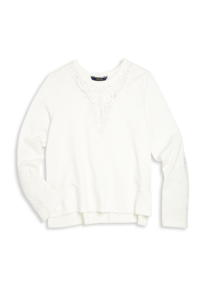 Ralph Lauren Girl's Cotton Lace Pullover Top