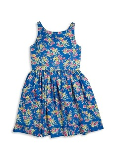 Ralph Lauren Girls Floral Fit-and-Flare Dress
