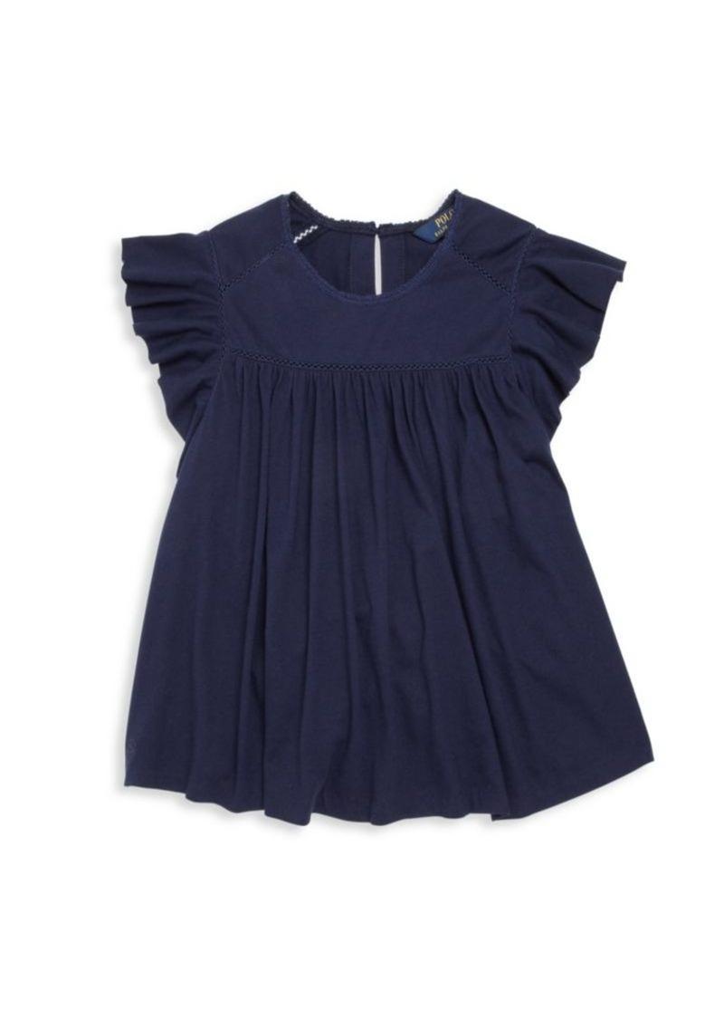 Ralph Lauren Girl's Jersey Lace-Trimmed Top