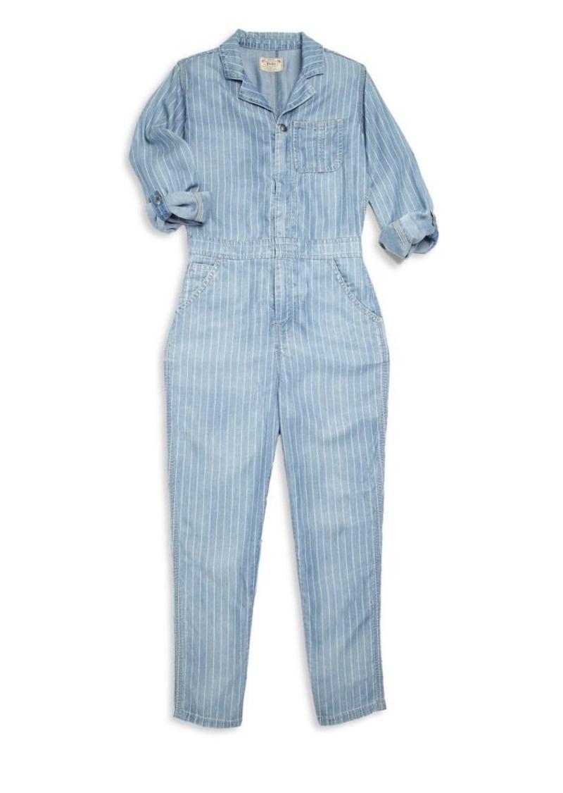 Ralph Lauren Girl's Striped Chambray Jumpsuit