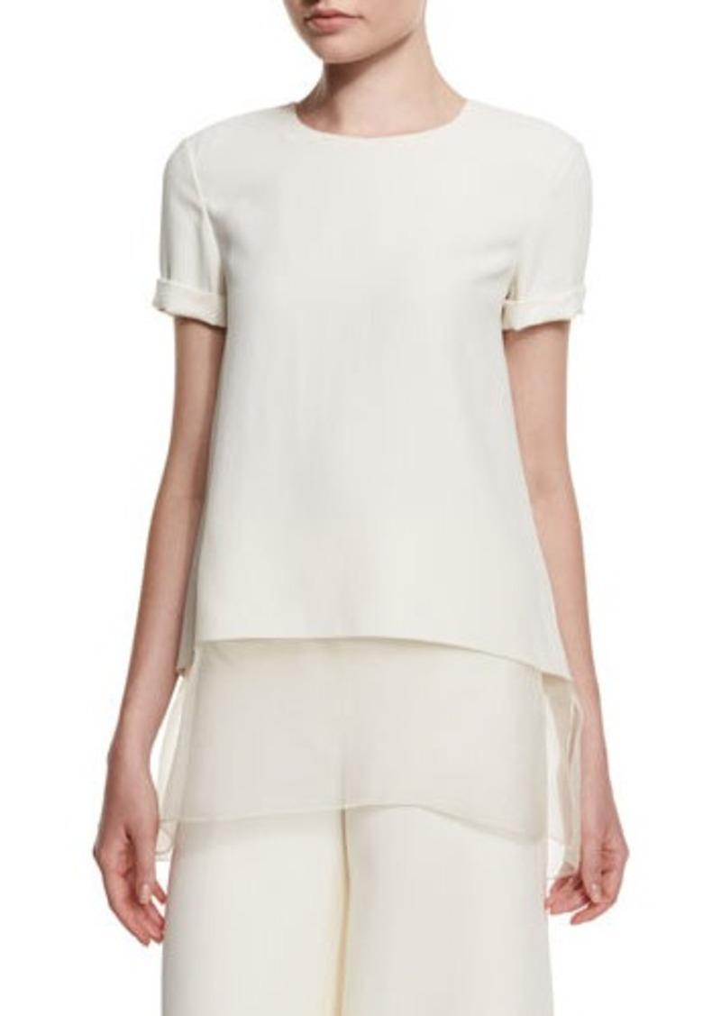 Ralph Lauren Collection Layered-Hem Short-Sleeve Top