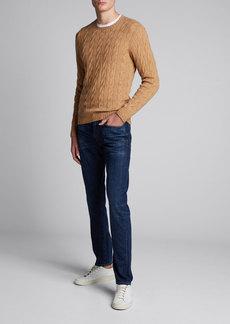 Ralph Lauren Purple Label Men's Cashmere Cable-Knit Crewneck Sweater  Beige