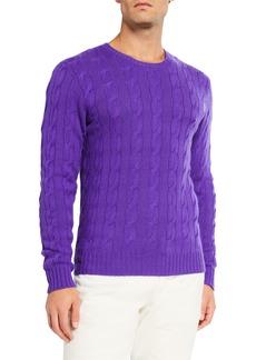 Ralph Lauren Purple Label Men's Cashmere Cable-Knit Crewneck Sweater  Purple