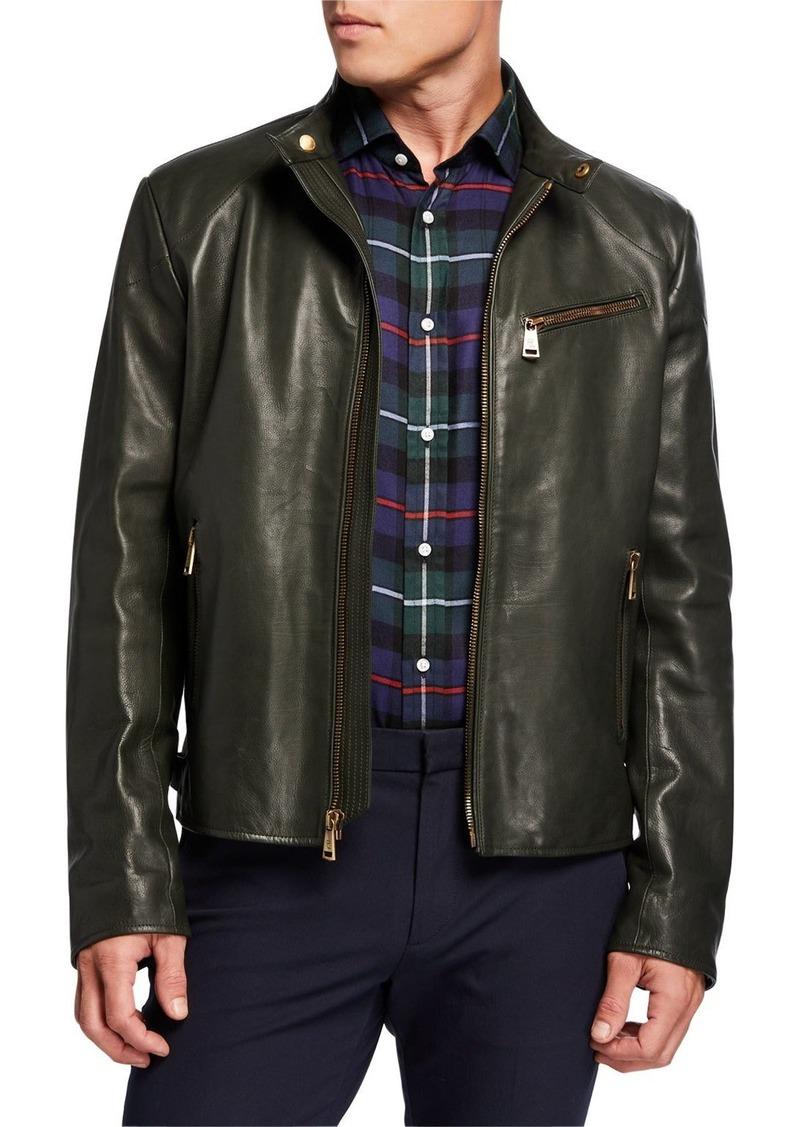 Ralph Lauren Men's Luxe Leather Zip-Pocket Biker Jacket