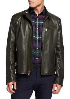 Ralph Lauren Men's Luxe Leather Zip-Pocket Biker Jacket