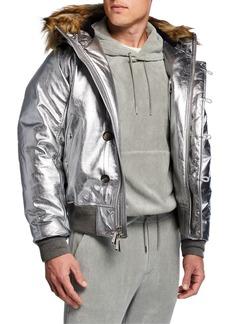 Ralph Lauren Men's Metallic Foil Leather Jacket w/ Faux-Fur Hood