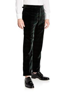 Ralph Lauren Men's Plaid Velvet Trousers