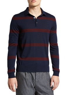 Ralph Lauren Purple Label Men's Striped Wool Polo Shirt