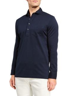 Ralph Lauren Purple Label Men's Washed Long-Sleeve Pocket Polo Shirt  Navy
