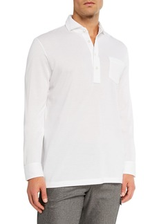 Ralph Lauren Purple Label Men's Washed Long-Sleeve Pocket Polo Shirt  White