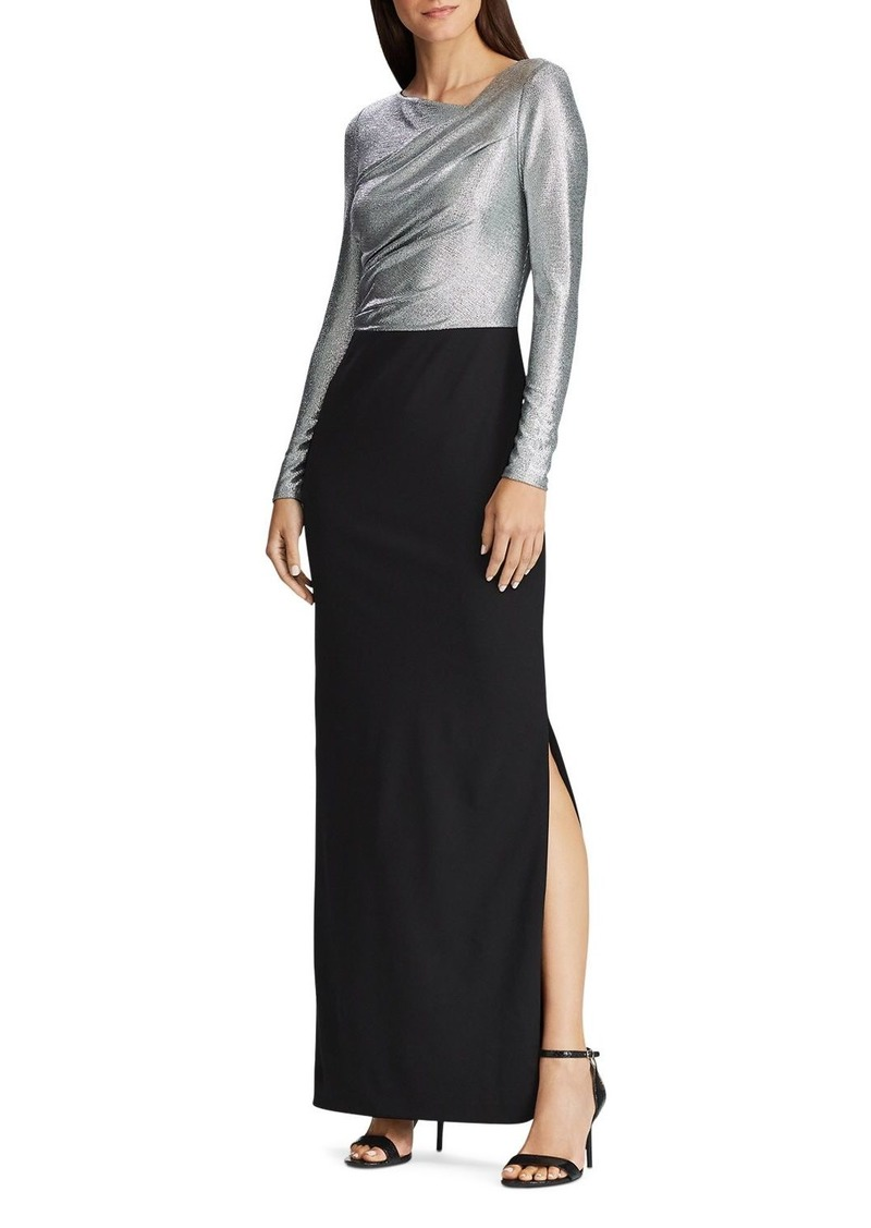 Ralph Lauren Metallic Layered-Look Dress