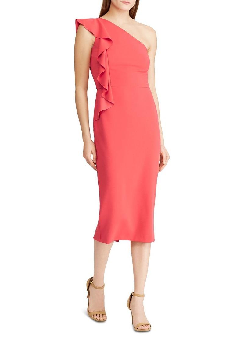 Lauren Ralph Lauren One-Shoulder Ruffle Sheath Dress