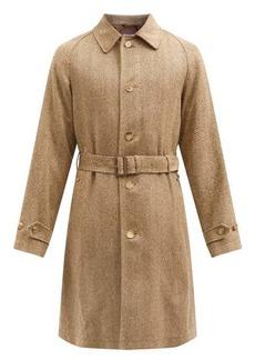Ralph Lauren Purple Label Belted silk herringbone-tweed single-breasted coat