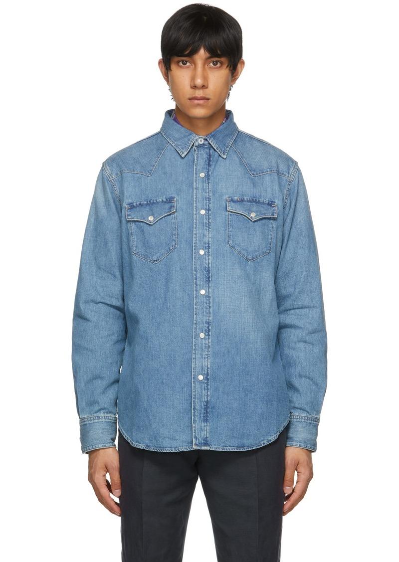 Ralph Lauren Purple Label Blue Denim Western Shirt