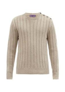 Ralph Lauren Purple Label Buttoned-shoulder ribbed-cashmere sweater