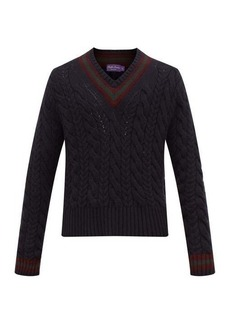 Ralph Lauren Purple Label Cable-knitted cashmere cricket sweater
