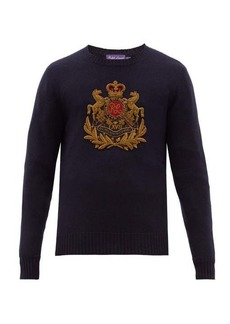 Ralph Lauren Purple Label Crest-embroidered cashmere sweater